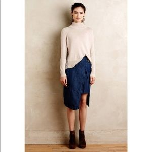 Anthropologie Faux Wrap Denim Skirt/Holding Horse